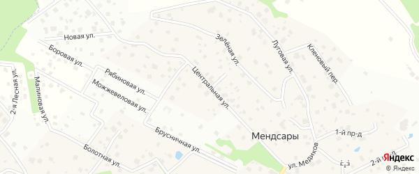 Центральная улица на карте деревни Мендсар Ленинградской области с номерами домов
