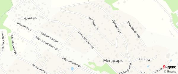 4-й центральный проезд на карте деревни Мендсар Ленинградской области с номерами домов