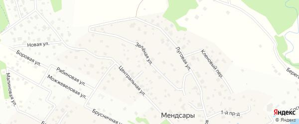 Зеленая улица на карте деревни Мендсар Ленинградской области с номерами домов