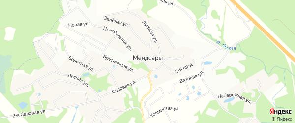 Карта деревни Мендсар в Ленинградской области с улицами и номерами домов