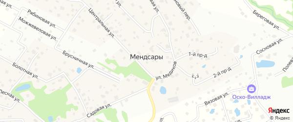 2-я Цветочная улица на карте деревни Мендсар Ленинградской области с номерами домов