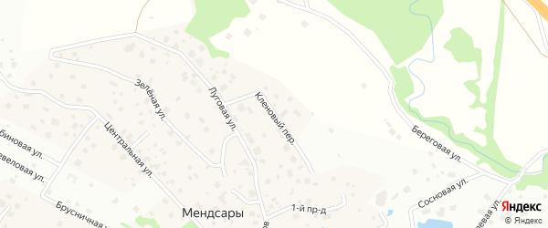 Кленовый переулок на карте деревни Мендсар Ленинградской области с номерами домов