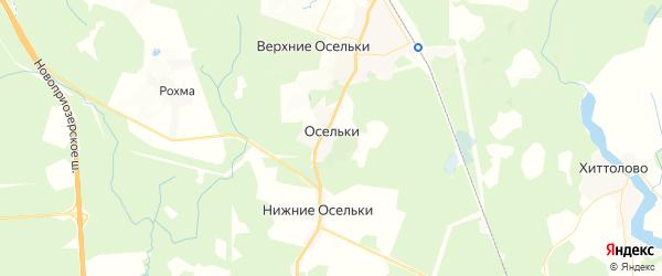 Карта массива Верхние Осельки Ленинградской области с районами, улицами и номерами домов
