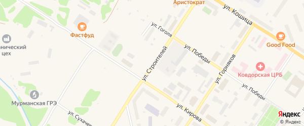 Улица Строителей на карте Ковдора с номерами домов