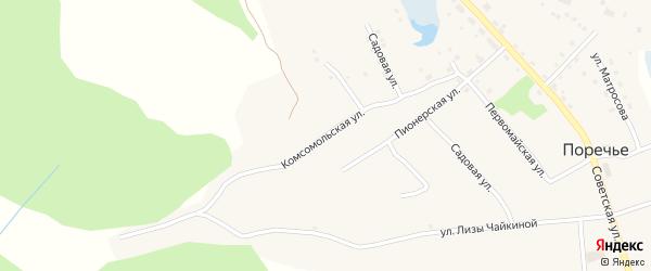 Комсомольская улица на карте деревни Поречья Псковской области с номерами домов
