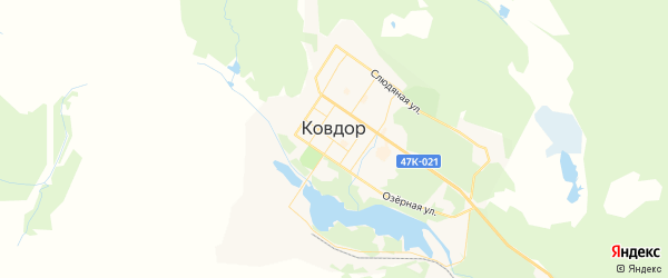 Карта Ковдора с районами, улицами и номерами домов