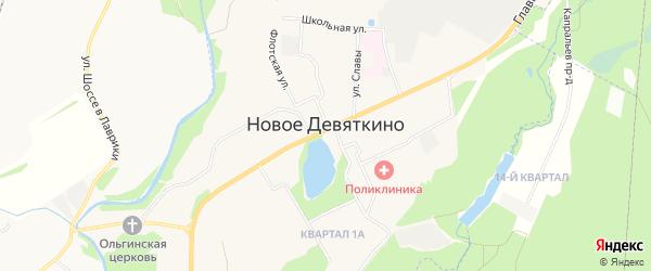 Карта территории Гаражи в районе метро Девяткино массива Бугровской волости в Ленинградской области с улицами и номерами домов