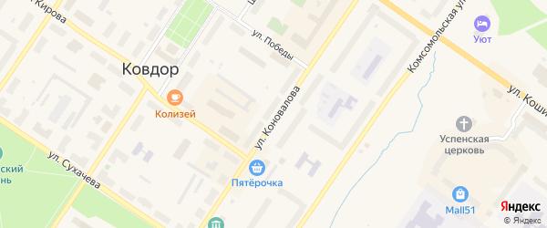 Улица Коновалова на карте Ковдора с номерами домов