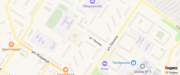 Улица Чехова на карте Ковдора с номерами домов