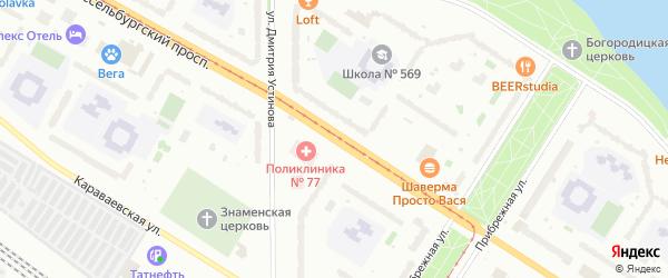 Шлиссельбургский проспект на карте Санкт-Петербурга с номерами домов
