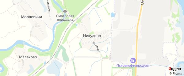 Карта деревни Никулино в Псковской области с улицами и номерами домов