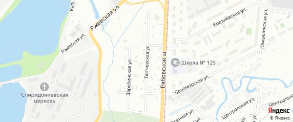 Тютчевская улица на карте Санкт-Петербурга с номерами домов