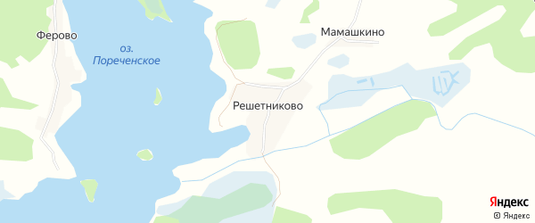 Карта деревни Решетниково в Псковской области с улицами и номерами домов