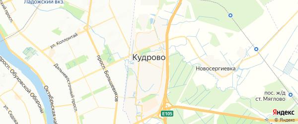Карта Кудрово с районами, улицами и номерами домов