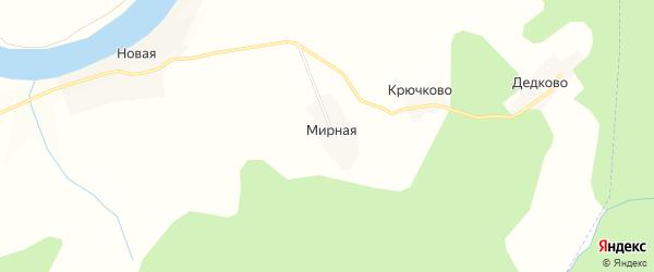 Карта Мирной деревни в Новгородской области с улицами и номерами домов