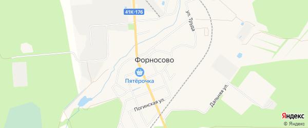 Карта СНТ Символ массива Форносово в Ленинградской области с улицами и номерами домов