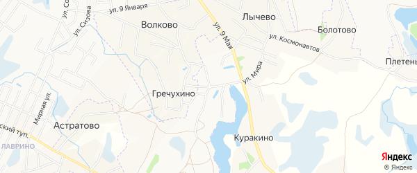 Карта деревни Гречухино в Псковской области с улицами и номерами домов