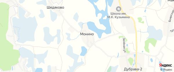 Карта деревни Монино в Псковской области с улицами и номерами домов