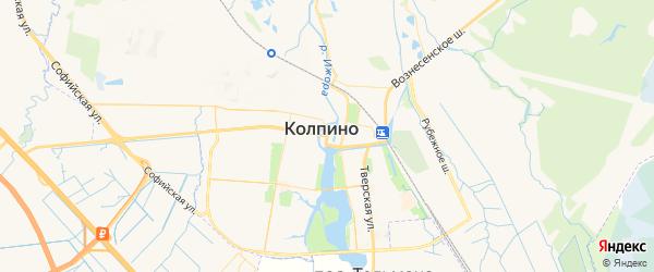 Карта Колпино с районами, улицами и номерами домов