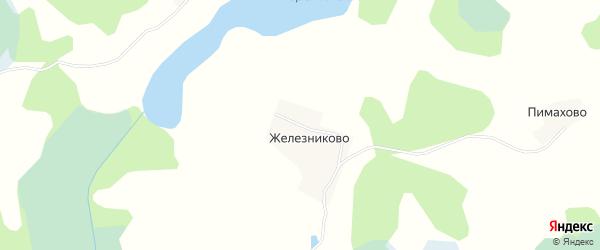 Карта деревни Железниково в Псковской области с улицами и номерами домов