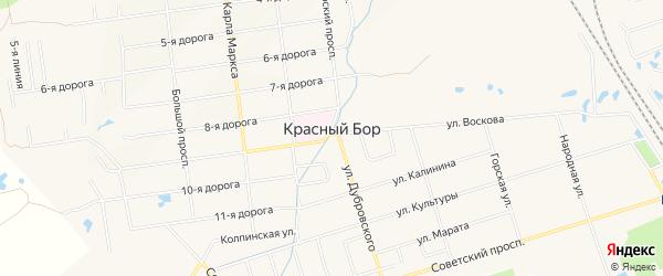 Карта СНТ Здоровье массива Трубников Бор в Ленинградской области с улицами и номерами домов
