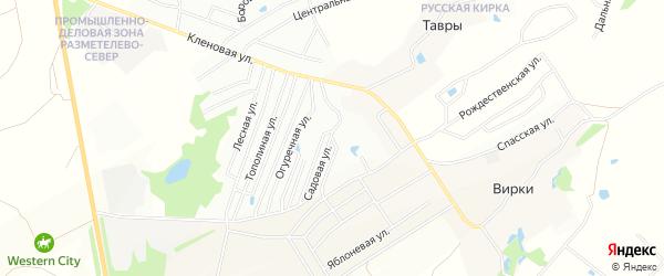 Территория СНТ Тавры на карте Всеволожского района Ленинградской области с номерами домов