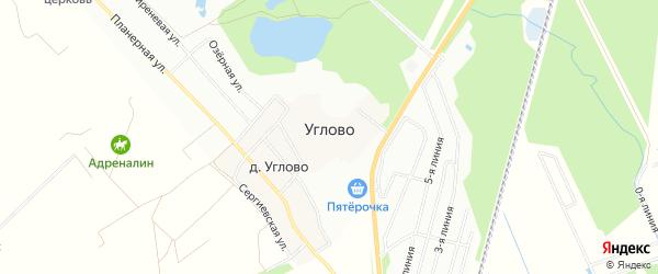 Карта поселка Углово в Ленинградской области с улицами и номерами домов