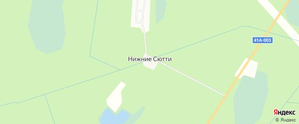 Карта населенного пункта Кордон Нижние Сютти в Ленинградской области с улицами и номерами домов
