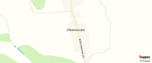 Юбилейная улица на карте деревни Иваньково Псковской области с номерами домов