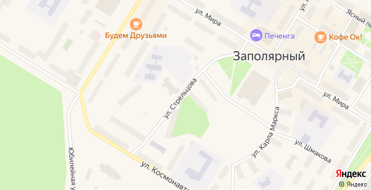 Улица имени П.В.Стрельцова в Заполярном с номерами домов на карте. Спутник и схема онлайн