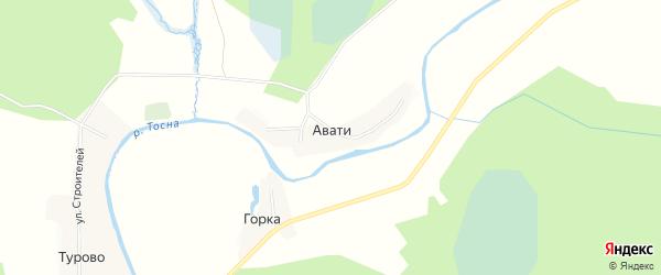 Карта деревни Авати в Ленинградской области с улицами и номерами домов