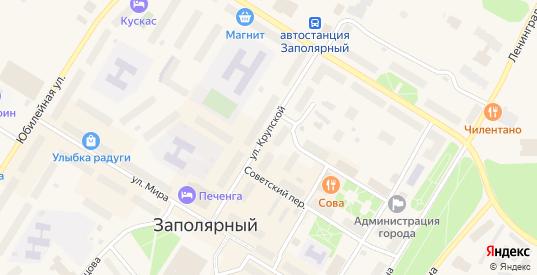 Улица Крупской в Заполярном с номерами домов на карте. Спутник и схема онлайн