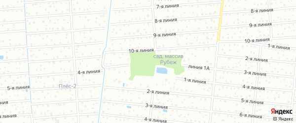 1-я линия на карте территории СНТ Дружбы массива Рубежа Ленинградской области с номерами домов