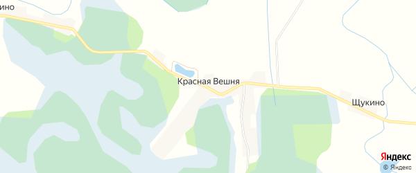 Карта деревни Красной Вешня в Псковской области с улицами и номерами домов