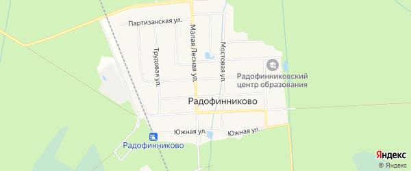Карта поселка СНТ Прибой массива Радофинниково в Ленинградской области с улицами и номерами домов