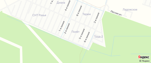 Карта садового некоммерческого товарищества Полета массива Пробы в Ленинградской области с улицами и номерами домов