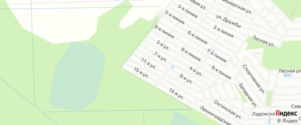 Карта садового некоммерческого товарищества Востока массива Дуная в Ленинградской области с улицами и номерами домов
