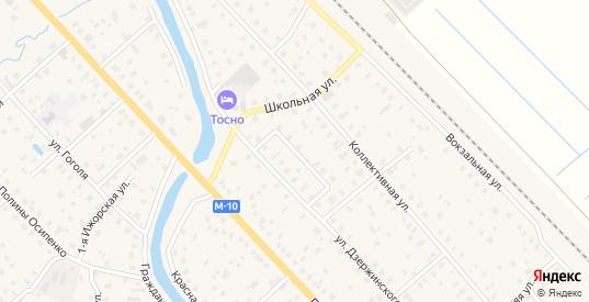 Переулок Дзержинского в Тосно с номерами домов на карте. Спутник и схема онлайн