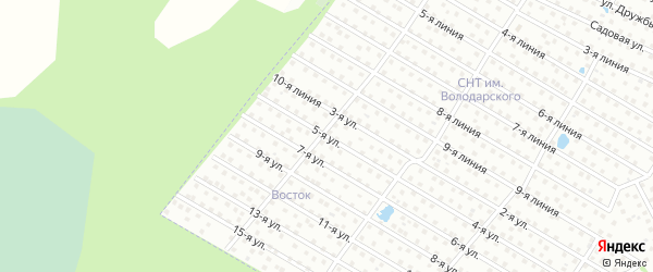 5-я улица на карте садового некоммерческого товарищества Бумпрома с номерами домов