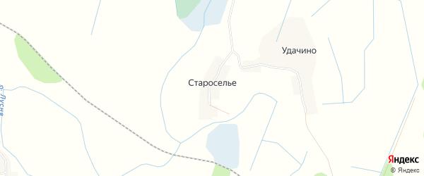 Карта деревни Староселье в Псковской области с улицами и номерами домов