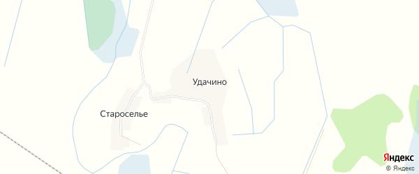 Карта деревни Удачино в Псковской области с улицами и номерами домов
