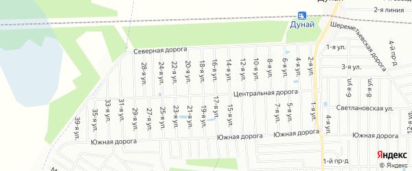 Карта садового некоммерческого товарищества Дубка массива Дуная в Ленинградской области с улицами и номерами домов
