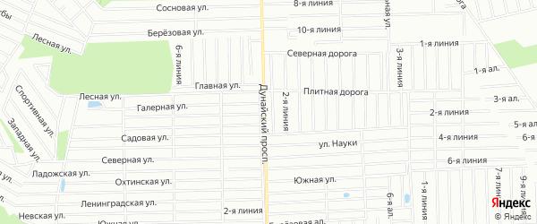 Карта садового некоммерческого товарищества Аверса массива Дуная в Ленинградской области с улицами и номерами домов