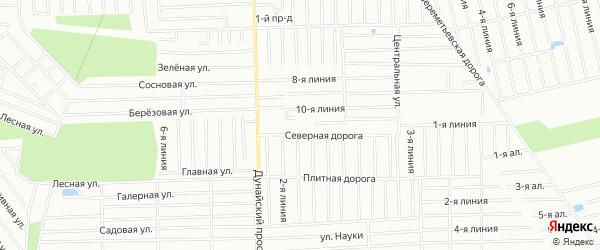 Карта садового некоммерческого товарищества Орфея массива Дуная в Ленинградской области с улицами и номерами домов
