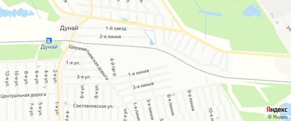Карта садового некоммерческого товарищества Бумпрома массива Дуная в Ленинградской области с улицами и номерами домов
