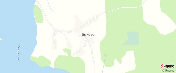Карта деревни Быково в Псковской области с улицами и номерами домов