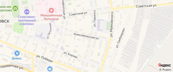 Комсомольская улица на карте Кировска с номерами домов