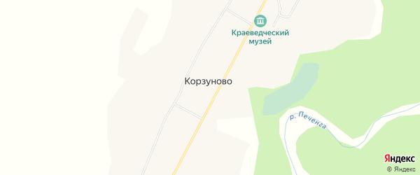 Карта населенного пункта Корзуново в Мурманской области с улицами и номерами домов