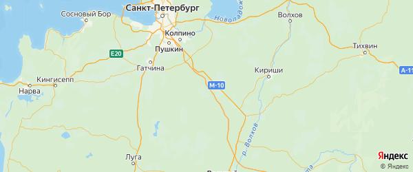 Карта Тосненского района Ленинградской области с городами и населенными пунктами