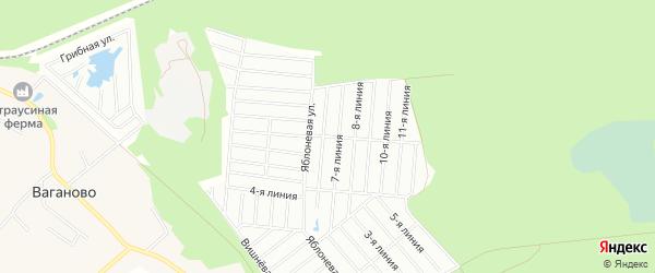 Карта территории Снт Фантазии массива Ваганово в Ленинградской области с улицами и номерами домов